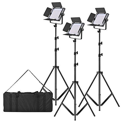 Scheune Metall (TOPTOO LED-320A 3pcs LED Video Licht Panel 25W Dimmable 340pcs Perlen mit 197cm / 78