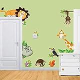 WandSticker4U- Wandtattoo'lustige Wald Tiere' | Dschungel Affe Giraffe Safari Affe Löwe Zoo Park Waldtiere | Wandaufkleber Wandsticker Deko für Kinderzimmer Babyzimmer Kinder