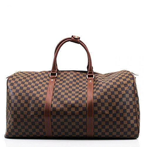 LeahWard® Damen Herren Reisetasche Modedesigner Handtaschen Hand Luggue für Ferienschule 41412 (H35cm x W61cm x D23cm Braun)