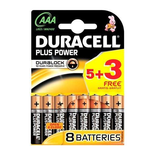 Duracell Plus Power Pack de 5 Piles Alcaline AAA Multicolore