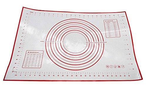 Küchenunterlage / Silikon-Backmatte, 60x 40cmgroß,haftet an Arbeitsplatte, zum Teigausrollen und für Kuchendekorationen geeignet, Maßangaben in Zoll und cm, Tabelle zur Umrechnung von Temperaturen (°F und °C), professionelles Design rot