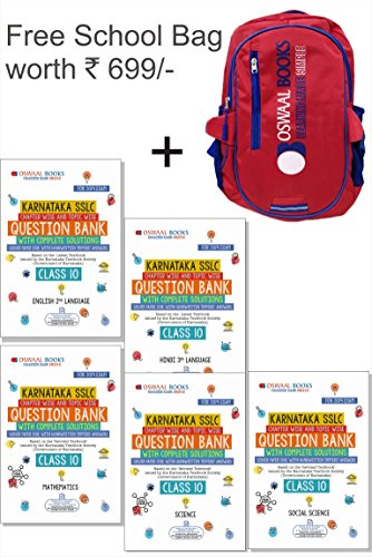 Oswaal Karnataka SSLC Question Bank Class 10 for March 2019 Exam with Free Bag Worth INR 699 (Set of 5 Books)