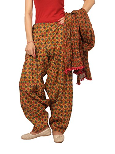 Rama Women\'s Cotton Abstract Printed Patiala and Dupatta Set (14RAMA14215895, Brown and Green, Free Size)
