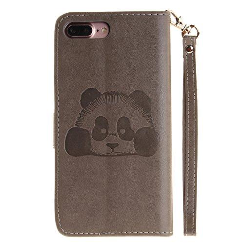 MOONCASE iPhone 7 Plus Coque, Panda Relief Motif Protection en PU Cuir Dragonne Sangle Housse Béquille Etui à Rabat TPU Case Cover avec Porte-cartes Fentes Portefeuille Béquille Fermeture Magnétique p Gris