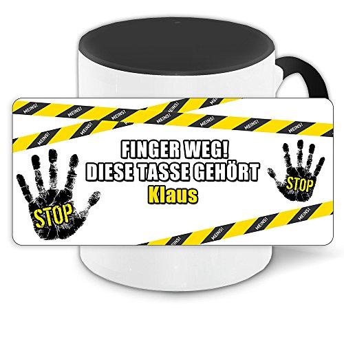 Büro-Tasse mit Namen Klaus und schönem Motiv - Nr. 3 - Finger weg , diese Tasse gehört ... , Farbe: schwarz