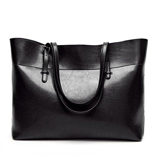 Flada Women's Handtaschen PU Leder Umhängetasche große Kapazität Tote Taschen für tägliche Arbeit schwarz (Arbeit Zeug)