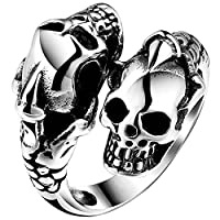 Men Cool Fashion Anti-fade Durable Titanium Steel Ring Jewelry with Skull Ornament Size 10