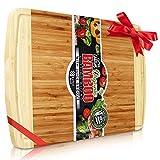 Perfect Placed® Extra Großes Bio Bambus Schneidebrett | Neue Anti- Riss-Technologie & Lebenslange Ersatz-Garantie - Premium Holz Schneidebretter für die Küche - mit Saftrille für Fleisch (30x45cm)