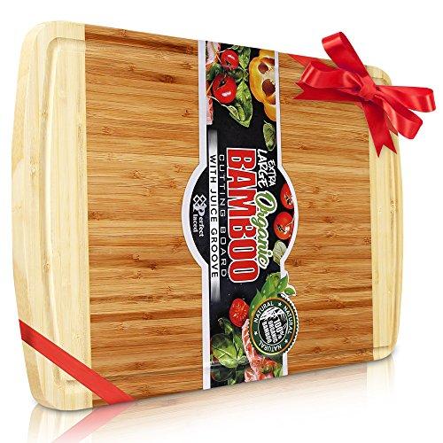Perfect Placed® Extra Großes Bio Bambus Schneidebrett   Neue Anti- Riss-Technologie & Lebenslange Ersatz-Garantie - Premium Holz Schneidebretter für die Küche - mit Saftrille für Fleisch (30x45cm) (Holz-fleisch Schneidebrett)