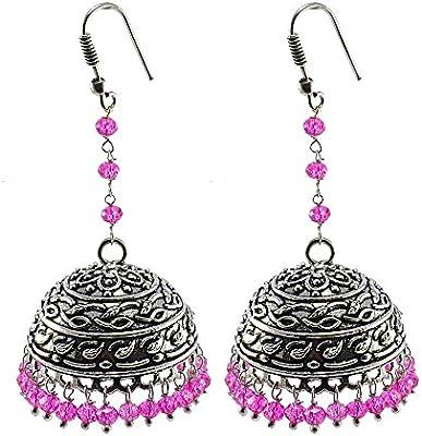 Rosa pendientes de cristal, templo joyería india plata jhumkas-large Jhumki gitana tribal joyería por silvesto India pg-28287