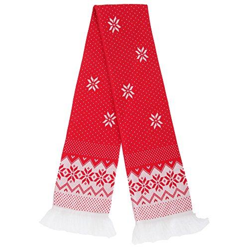Floso FLOSO® Unisex Winter Fransenschal mit weihnachtlichem Muster (150 x 20 cm) (Norwegermuster)