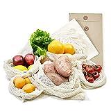 achilles 6er Set Obst- und Gemüsebeutel mit Gewichtsangabe Obst-Beutel Gemüse-Netz 100% Baumwolle inkl. Hülle waschbar versch. Größen 2X XL, 2X L, 1x M + 1 x Baumwollbeutel