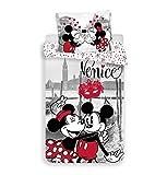Jerry Fabrics and Minnie in Venice Mickey & Friends CharacterKinderBettwäsche mit ReißverschlussBettbezug 140 x 200 cm und Kissenbezug 70 x 90 cm, Baumwolle, Multicolored, 200 x 140 x 0.5 cm