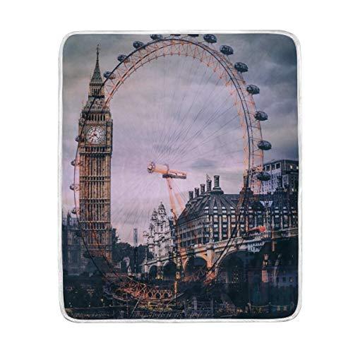 CPYang London Eye Big Ben Manta Suave Microfibra Regalo Cama sofá Mantas...