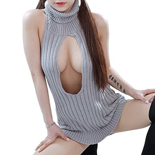 Wq zxc Tentation Uniforme Licol Pull Sexy Femme Gros Seins Libre Fuite Sexy Pull Mince Sexy pour Éviter La Tentation