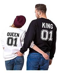 Sudadera Pareja Hoodie King Queen Cuello Redondo Pullover Algodón Manga Larga para Mujer Hombre Suéter San Valentín Cumpleaños Sweatshirt Dulce