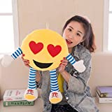 #9: Skylofts Cute 32cm Romantic Hearty Eyes Stuffed Smiley Cushion Emoji Pillow Soft Toy with legs and hands
