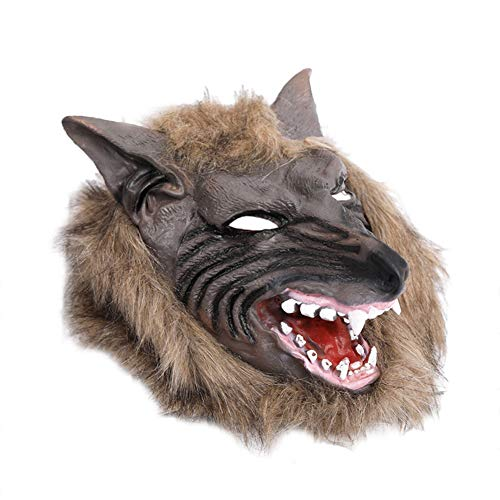 Cosanter Halloween Horror Latex Maske Kopfbedeckung Streich Requisiten Make-up Party Kostüm (Braun Wolf Kopf Muster) (Wolf Kostüm Streich)