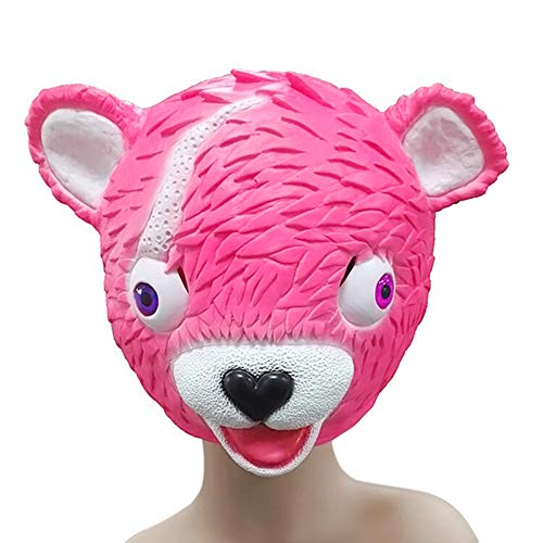 (AidmonR Fortnite Cosplay Umarmung Boss Latex Maske Rosa niedliche Bär Actionfigur Helm Requisiten Halloween-Party)