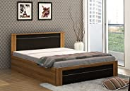 Spacewood Rio Queen Size Engineered Wood Bed with Box Storage (Woodpore Finish, Natural Teak)