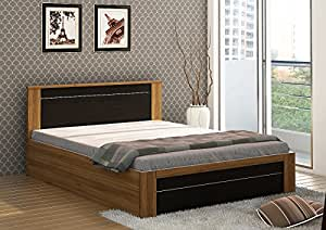 Spacewood Rio Queen Size Bed with Storage (Woodpore Finish, Natural Teak)