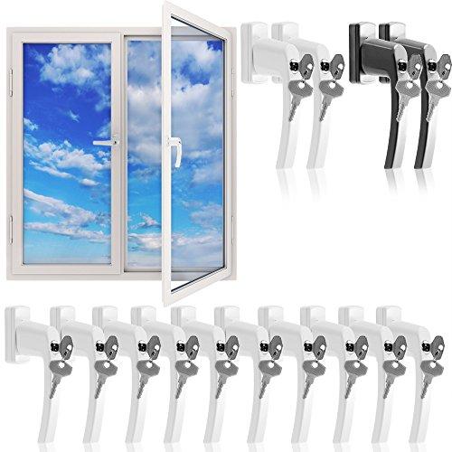 Fenstergriffe abschließbar 10x aus Aluminium weiß inkl. Schlüssel - Fenstersicherheitsgriff abschließbarer Fenstergriff Kindersicherung - Farbauswahl / Mengenauswahl 【Gleiche Schlüssel】