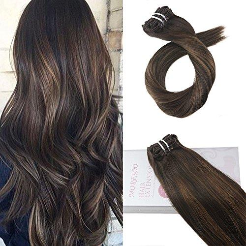 Moresoo 18 Zoll/45cm Ombre Remy Echthaar Clip In Extensions Für Komplette Kopf Schwarz #2 Darkest Brown to #6 Medium Brown Glatt Haarverlängerung Balayage Haarfarbe 7 Tressen 120g