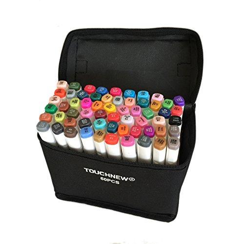 Original TouchNew 60 Farben Art Graphic Design Marker Pens, Broad Feine Punkte mit Aufbewahrungstasche, T Tocas, Weiß (Feine Farbe Punkt-marker)