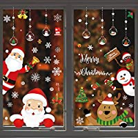 Areally Christmas Window Clings, Xmas Decorations Holiday Snowflake Santa Claus Reindeer Stickers Decals for Party, Static PVC Reusable Double-Side Window Stickers