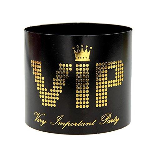 (VIP Servietten-Ringe, 6er Pack, schwarz-gold, glänzend, 21cm)