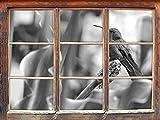 Hummingbird dans son habitat naturel Art B & W Fenêtre en 3D look, mur ou format vignette de la porte: 92x62cm, stickers muraux, sticker mural, décoration murale