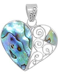 ERCE Paua/ Abalone Muschel Anhänger Herz, 925 Sterling Silber, Länge 3 cm im Geschenketui, Handarbeit