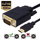Monew HDMI zu VGA-Kabel Vergoldet 1080P HDMI Stecker auf VGA Stecker Active Video Adapter Kabel Analog Converter Kabel (6 Fuß/1,8 Meter)