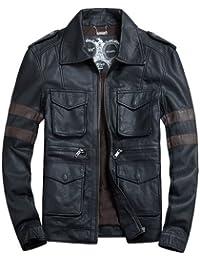 Dayiss® Herren PU Lederjacke mit Achselstücken Europa-Fashion Motorradjacke Sportjacke Resident Evil