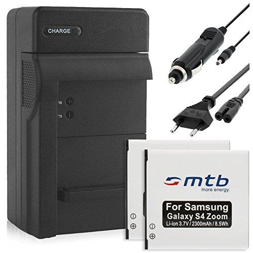 2 Batterie + Caricabatteria (Auto/Corrente) per Samsung B740 / Galaxy NX Mini, NXF1, NX3000, NX3300 / Galaxy S4 Zoom (SM-C101)