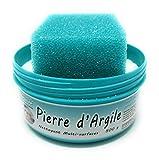 BioVeg5 | Pierre d'Argile 500 gr | Pierre Blanche Naturelle de Nettoyage et son Éponge Épaisse | Biodégradable et Respectueuse de la Peau | Senteur Citron