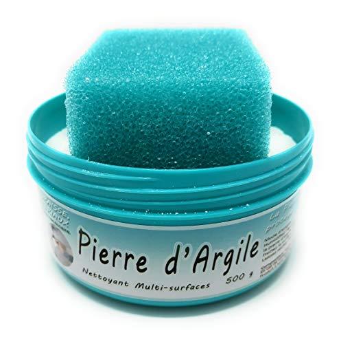 BioVeg5 | Pierre d'Argile 500 gr / 1 kg | Pierre Blanche Naturelle de Nettoyage et son Éponge Épaisse | Biodégradable et Respectueuse de la Peau | Senteur Citron (Turquoise, 500)