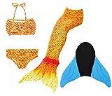 Superstar88 Meerjungfrau Badeanzug Mädchen Niedliche Meerjungfrau Kostüm 3pcs Bikini-Sets Kinder Schwimmflossen (150, Orange+flossen)