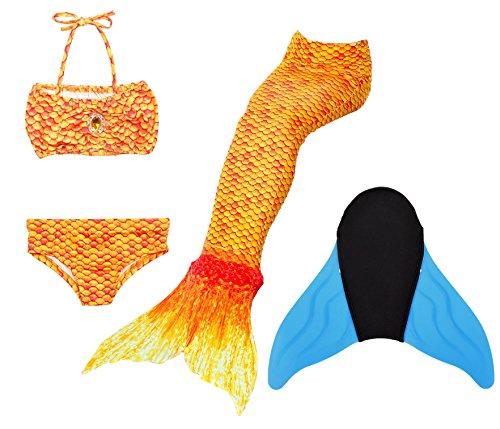 Niedliche Mädchen Mit (Superstar88 Meerjungfrau Badeanzug Mädchen Niedliche Meerjungfrau Kostüm 3pcs Bikini-Sets ,Hochwertige und Niedliche Kinder Schwimmflossen (140, Orange Flossen einschließen))