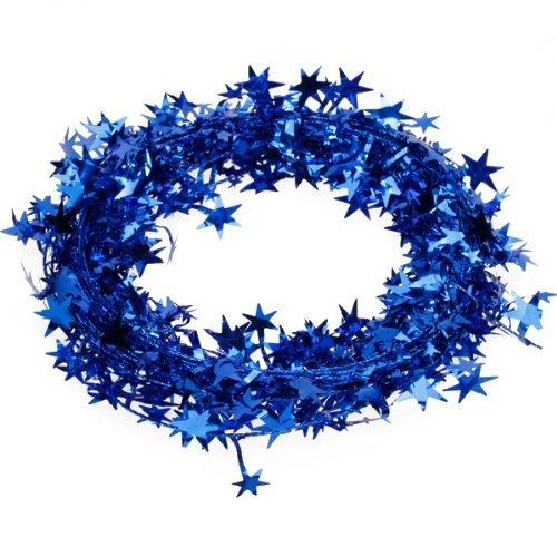 7.01 meters Star Lametta-Girlande, Weihnachtsdeko königsblau