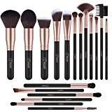 BESTOPE 18 Stück Make Up Pinsel Set Premium Kabuki Pinselset Kosmetik Makeup Pinsel Synthetisches Haar Schminkpinsel Set Lippenpinsel Gesichtspinsel Set (Schwarz und Rose Gold)