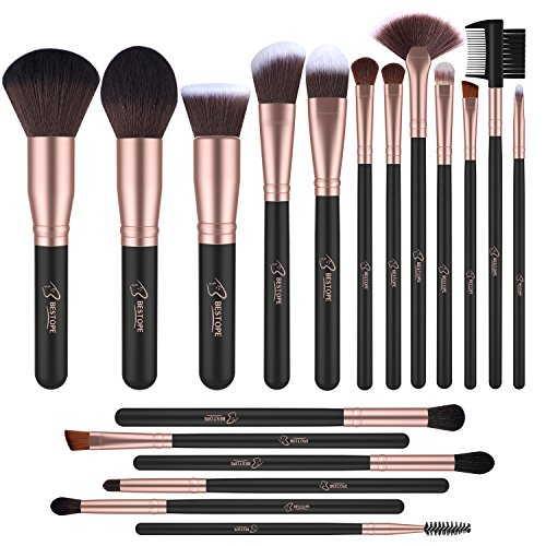 BESTOPE Makeup Brushes Professional Makeup Brush Set 18PCs Make Up Brushes Premium Synthetic Foundation Brush Blending Face Powder Blush Concealers Eye Cosmetics Make Up Brush Kits