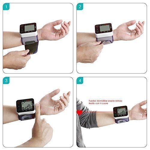 SIMBR Misuratore di Pressione da Polso Digitale per Uso Domestico Completamente Automatico e Precisione,Monitor della Pressione Arteriosa con 180 Memorie per 2 Utenti, Portatile,Certifica CE/ROHS/FDA - 3