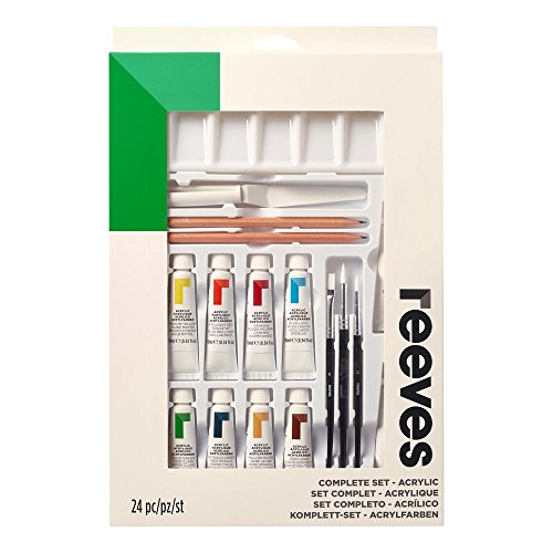 Reeves 8394202 ' Acrylic' Acrylfarben Complete Set, 12 Farben in 10ml Tuben, 3 Pinsel, 3 Malpappen &...