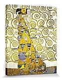 1art1 Set: Gustav Klimt, Die Erwartung, 1905-1909 (Detail) Poster Leinwandbild Auf Keilrahmen (50x40 cm) + 1x Aktions-Home-Deko Artikel