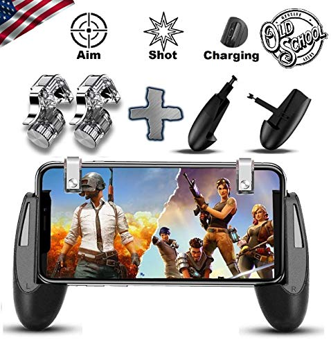 Semsa Mobile Game Controller - [Old School Design] PUBG Mobile Trigger, Handy Gaming Trigger und Gamepad, L1R1 Sensitive Shoot and Aim Fire Buttons Shooter Game Pad für Android & iOS iPhone -