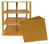 Stapelbare Premium-Bauplatten - inkl. neuen verbesserten Bausteinen mit 2 x 2 Noppen - kompatibel mit allen großen Marken - geeignet für Turm-Konstruktionen - Set aus 4 Platten - je 10