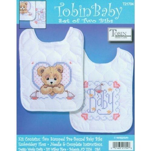 Tobin Bedtime Prayer Boy Bib Pair Stamped Cross Stitch Kit, 8 by 10-Inch, Set of 2 by Tobin