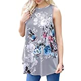 SANFASHION Tank Tops Frauen Damen Sommer Mode Casual Print Floral V-Ausschnitt Tops T-Shirt Bluse