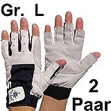 2 Paar BluePort Damen Herren Segelhandschuhe Gr. L / 9 aus Leder - 5 Finger frei / fingerlos